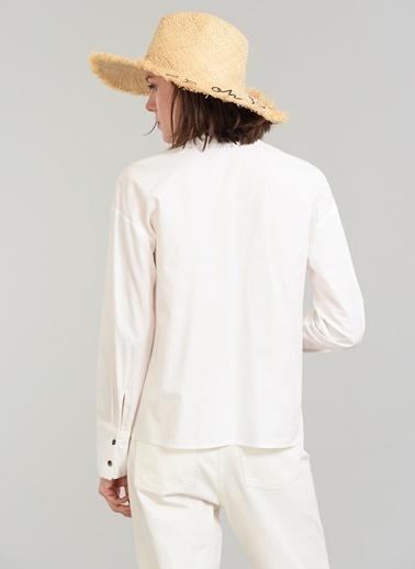 People By Fabrika Nakışlı Gömlek Beyaz